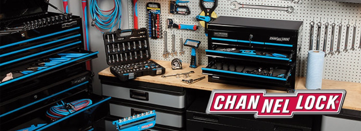Channellock logo with a workbench and tools