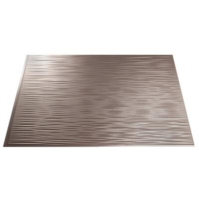 Fasade 18 In. x 24 In. Thermoplastic Backsplash Panel, Brushed Nickel Ripple