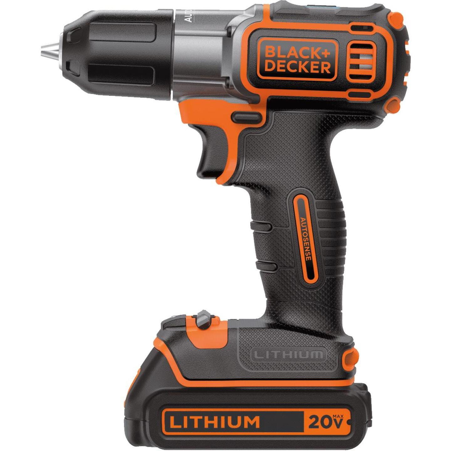 Black & Decker 20 Volt MAX Lithium-Ion 3/8 In. Cordless Drill Kit with AutoSense Technology Image 2