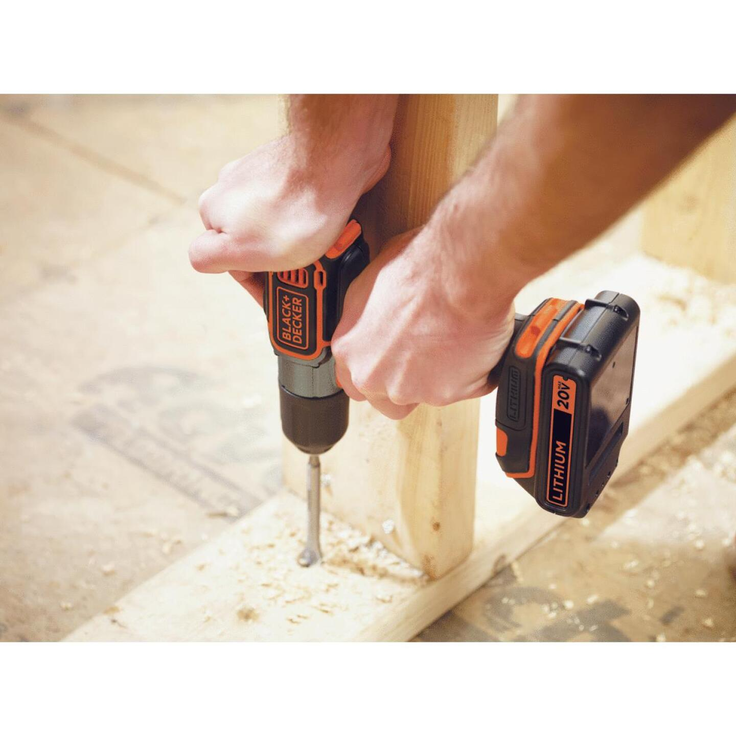 Black & Decker 20 Volt MAX Lithium-Ion 3/8 In. Cordless Drill Kit with AutoSense Technology Image 6