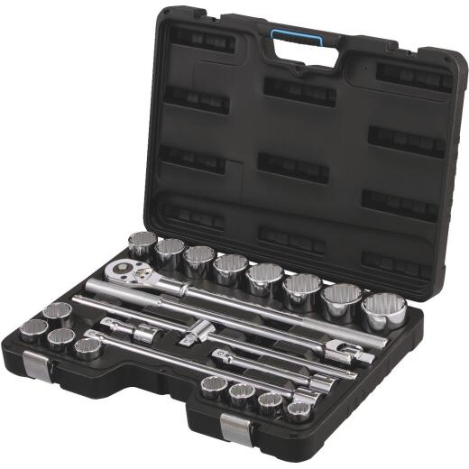 Channellock Standard 3/4 In. Drive 12-Point Shallow Socket Set (23-Piece)