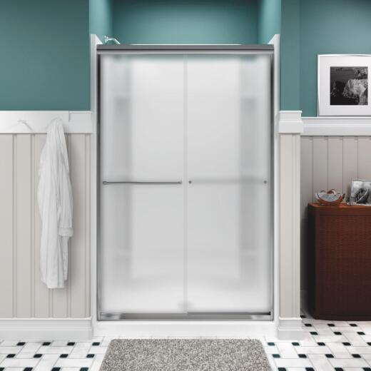 Sterling Finesse 47-5/8 In. W. X 70-1/16 In. H. Chrome Frameless Frosted Glass Sliding Shower Door