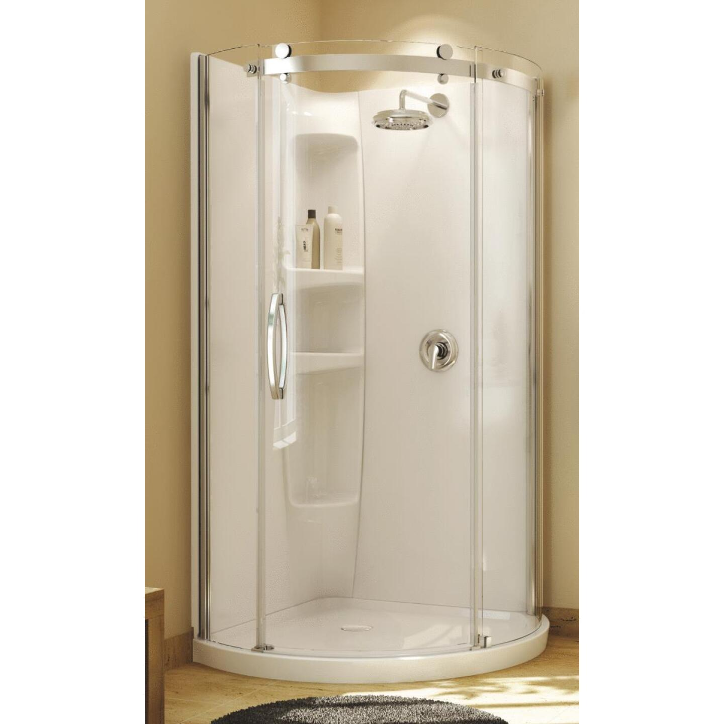 Maax Olympia 22 In. W x 71-3/4 In. H Chrome Framed Clear Glass Corner Shower Door Image 1