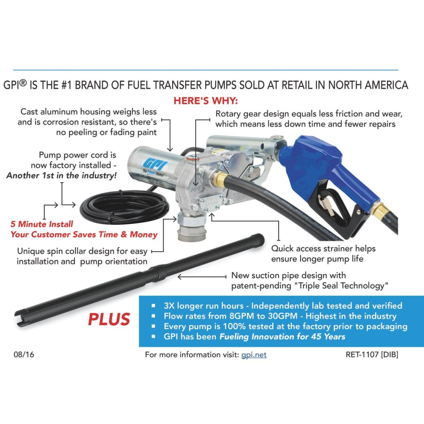 GPI 12V DC, 15 GPM Manual Fuel Transfer Pump Image 2