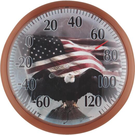 """Taylor SpringField 13-1/4"""" Dia Plastic Dial Flag Indoor & Outdoor Thermometer"""