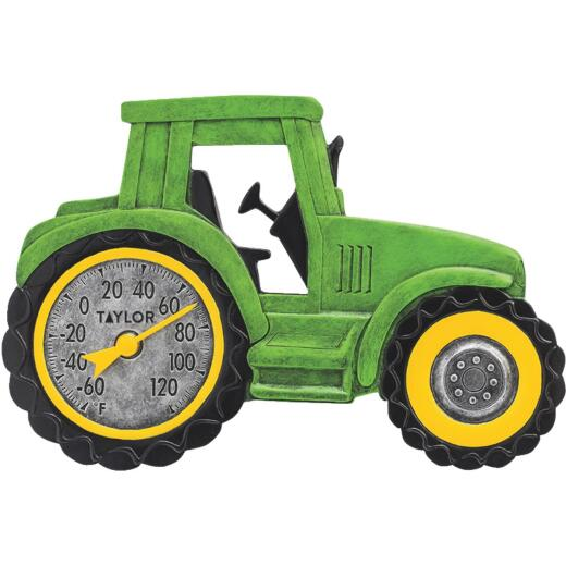 Taylor SpringField 14 In. x 9.5 In. Green Tractor Indoor & Outdoor Thermometer