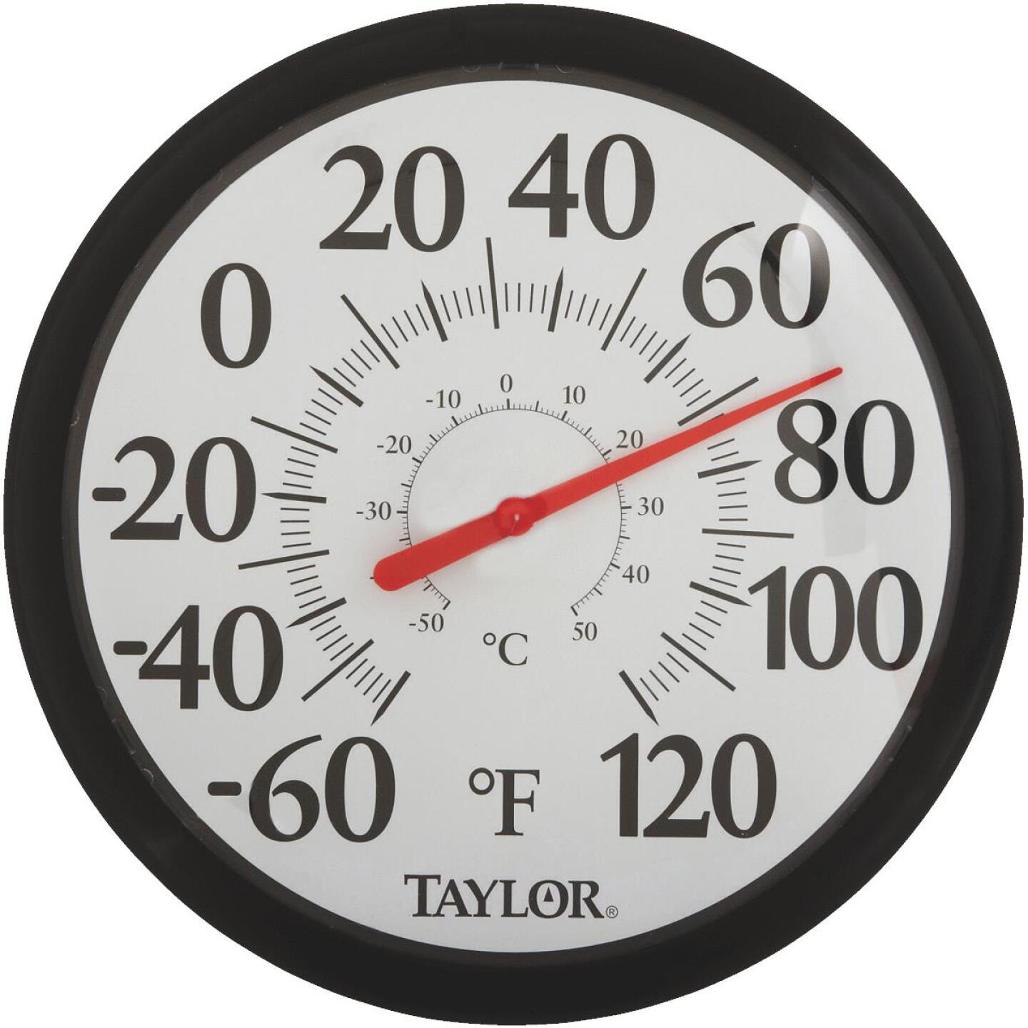 """Taylor 13-1/2"""" Fahrenheit and Celsius -60 To 120 F, -50 To 50 C Outdoor Wall Thermometer Image 1"""