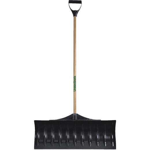 Union Tools 30 In. Poly Snow Pusher with 47 In. Wood Handle
