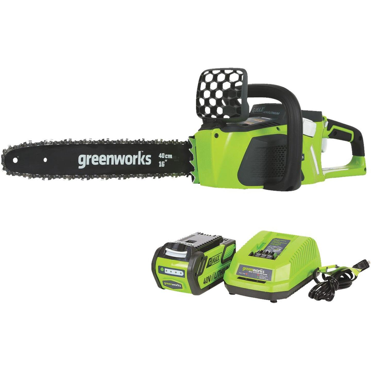 Greenworks G-MAX 16 In. 40V Lithium Ion Brushless Cordless Chainsaw Image 1