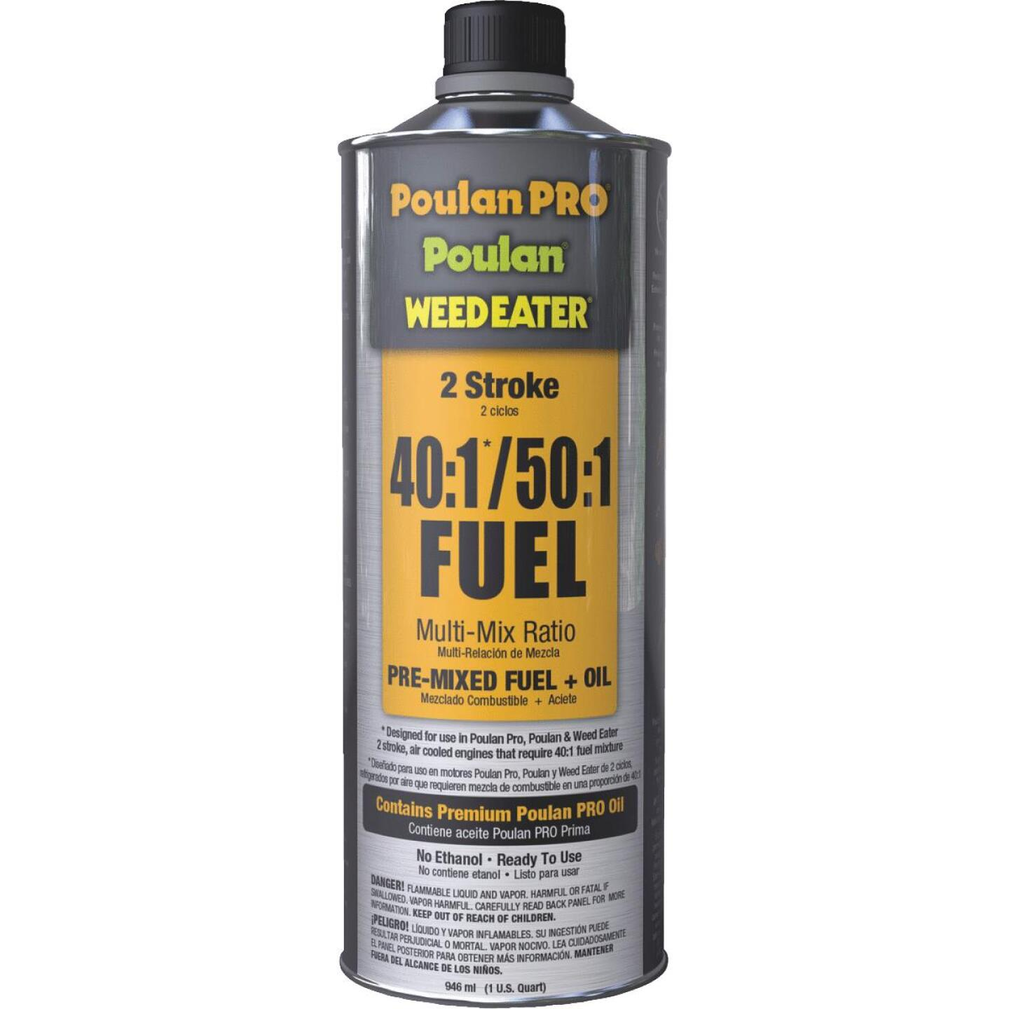 Poulan Pro Weedeater 1 Quart 40:1/50:1 Ethanol-Free Small Engine Multi-Mix Fuel & Oil Pre-Mix Image 1