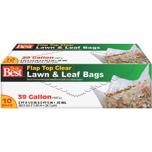 Do it Best 39 Gal. Clear Flap Tie Lawn & Leaf Bag (10-Count)