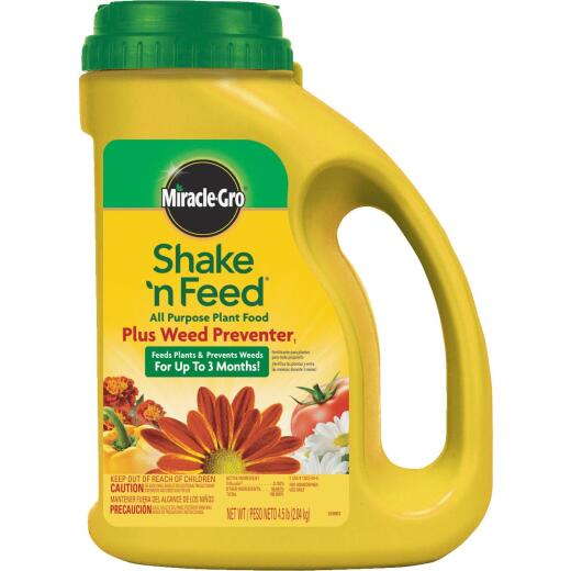 Miracle-Gro Shake N' Feed 4.5 Lb. 10-10-10 All-Purpose Dry Plant Food Plus Grass & Weed Preventer