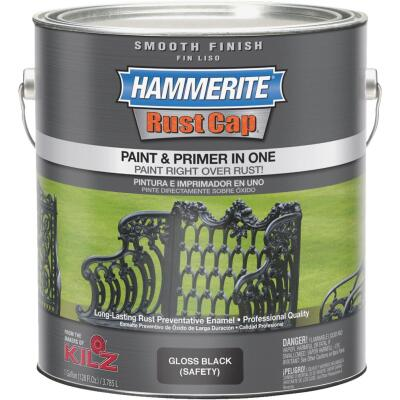 Hammerite Rust Cap Oil-Based Gloss Smooth Rust Control Enamel, Black, 1 Gal.