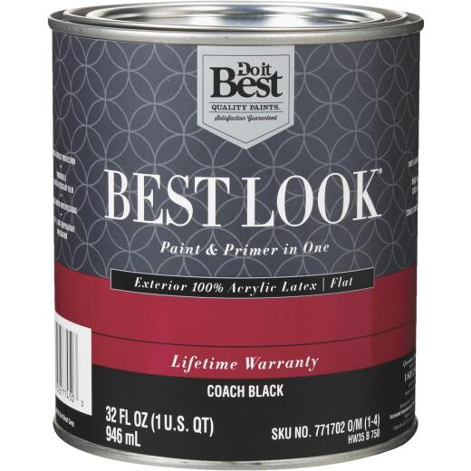 Best Look 100% Acrylic Latex Paint & Primer In One Flat Exterior House Paint, Coach Black, 1 Qt.