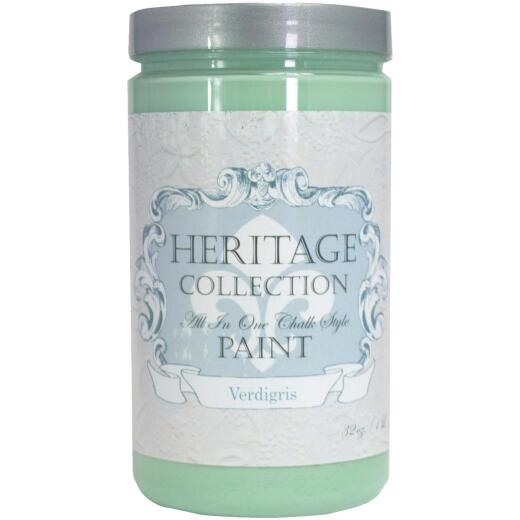 Heirloom Traditions Heritage Collection All-In-One Chalk Style Paint, Verdigris, 1 Qt.