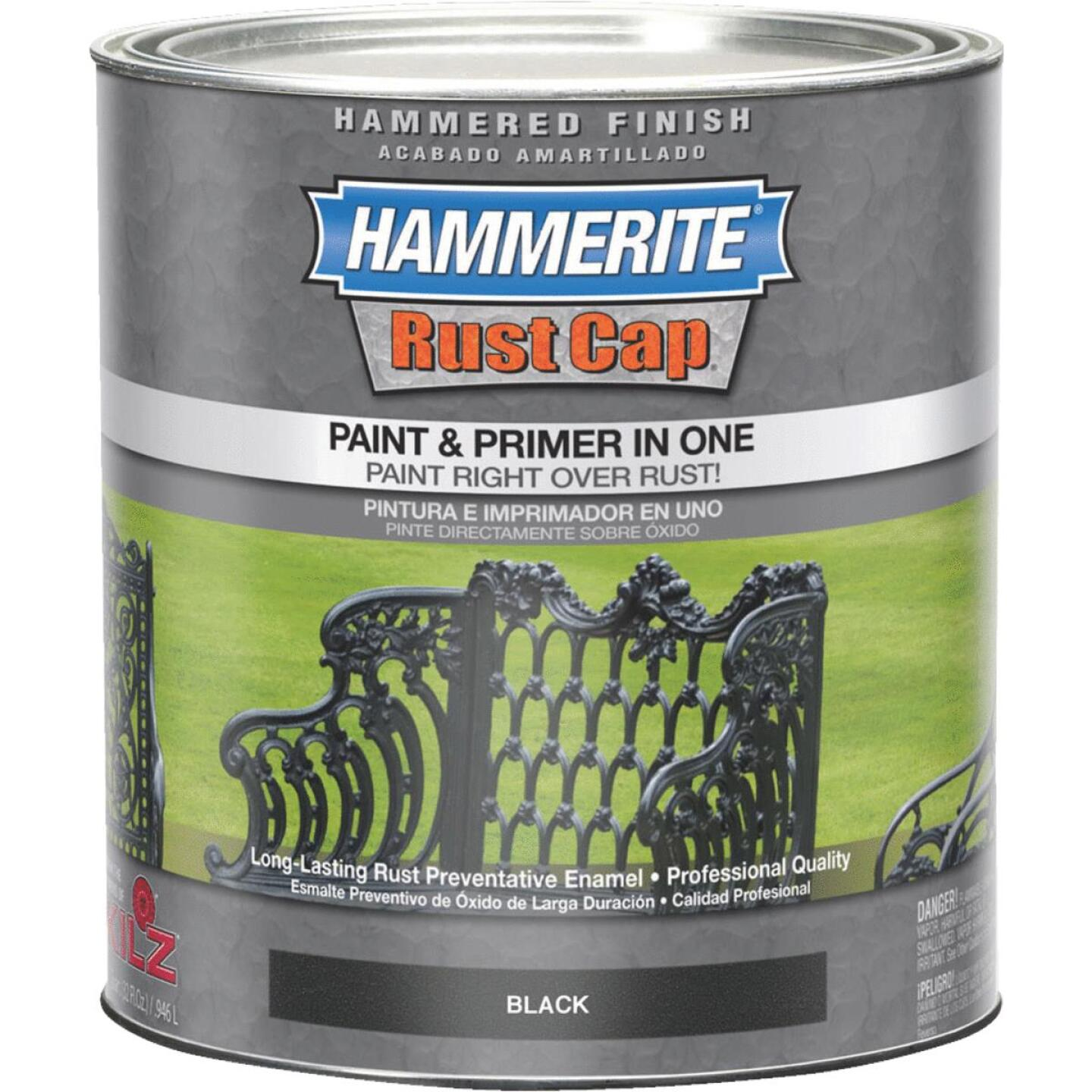 Hammerite Rust Cap Paint & Primer In One Hammered Finish, Black, 1 Qt. Image 1