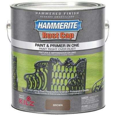 Hammerite Rust Cap Paint & Primer In One Hammered Finish, Brown, 1 Gal.