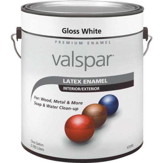 Valsar Premium Latex Enamel, Gloss White, 1 Gal.